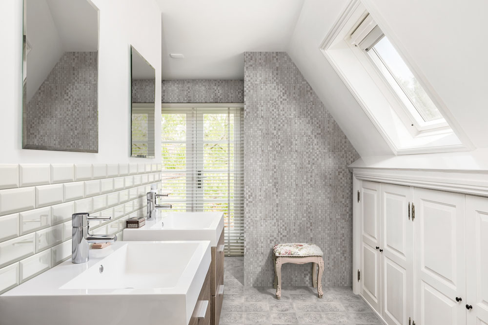White-Grey Mosaic Mix Bathroom